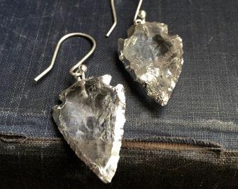 Quartz Earrings,Silver Edged Crystal Earrings,Silver Quartz Arrowhead Earring,Silver Crystal Earrings,Raw Stone Earrings,Clear Quartz Silver