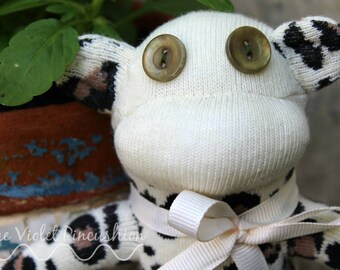 Cream Leopard, Animal Print Sock Monkey