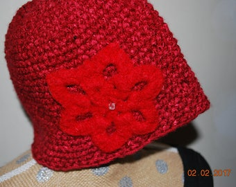 Crocheted beanie hat, snowflake decoration, winter hat, red hat