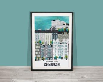 Edinburgh Art Print / Edinburgh Castle Art Print / Edinburgh Digital Art Print / Scotland Print / Fathers Day Gift / Travel Illustration