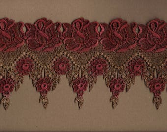 Hand Dyed Venise Lace Victoriana  Aged Wine and Rose's