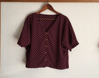 DARLA top/Polka dot dolman sleeve blouse/spotted/vintage buttons