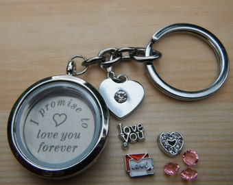 Love statements for him her Living Memory Floating Glass locket Engraved Charms Keyring necklace magnetic Keepsake