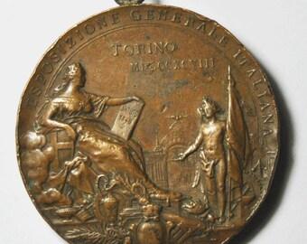 Johnson Milano Italian Exposition Torino 50 Anniversary Proclamation Medal 52mm
