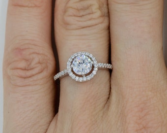 White Round Cut Micro Pave CZ Halo Engagement Ring Sterling Silver With Cubic Zirconia Bridal Engagement Promise Ring