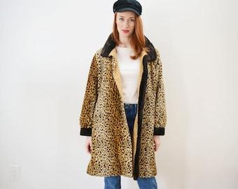90s Leopard Print Coat - Reversible, Vintage, Oversized, Faux Fur, Print
