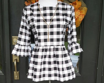 womens top the Carolina top shown in large black and white gingham fall top custom made by Collyn Raye gameday top clemson top