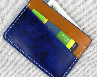 Minimalist Leather Wallet-Blue Cardholder-Card Case-Thin Wallet-Small Wallet-Gift for Her-Constructed by Hand - Handmade Credit Card Holder