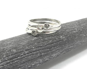3 Sterling Silver Initial Rings, Silver Monograms Stacking Rings, Dainty Rings, Stackable Rings, Silver Heart Ring