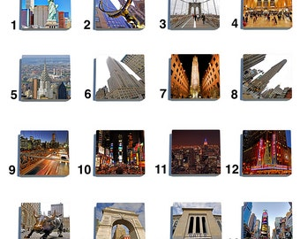 New York Color Stone Coaster Tile Set - Pick any four images - 16 to choose from