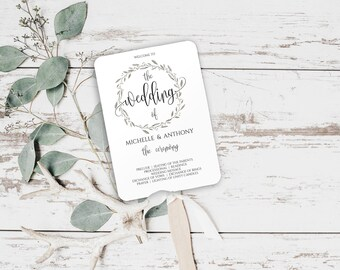 Wedding Fan Programs DIY, Wedding Fan Program Template, Printable Wedding Program Template, Wedding Fan Program, Wedding Program Fan, 0025