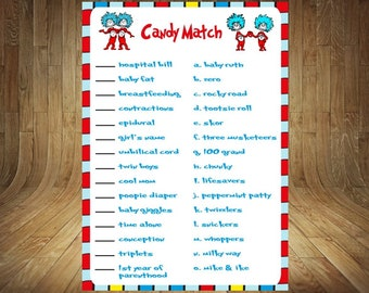 Thing 1 Thing 2 Baby Shower Game, Thing 1 Thing 2 Baby Shower, Thing 1 Thing 2 Candy Match, Thing 1 Baby Shower, Shower Candy Match