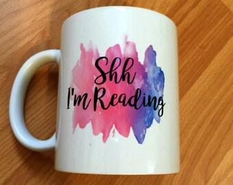 Shh I'm Reading Watercolor Mug