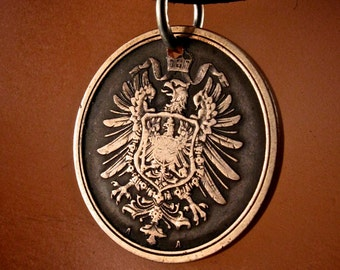 antique GERMAN COIN NECKLACE  Germany  pfennig antique coin  Deutschland Charm Pendant coin fob .mens jewelry. mens coin No.001772