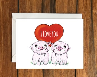 I Love You Piglets Blank greeting card Valentines Day A6