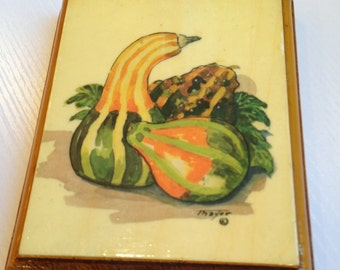 Vintage Fall Gourd Decoupage Picture