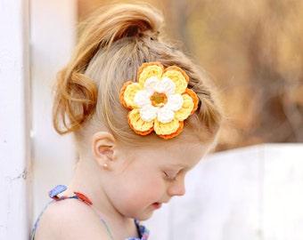 Crochet Flower Hair Clip Crochet Barrette Cream Hair Clip Yellow Hair Clip Orange Hair Clip Cream Flower Yellow Flower Orange Flower Clip