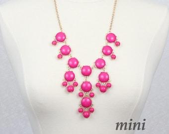Bubble Necklace Fuchsia Bib Necklace Hot Pink Mini Version