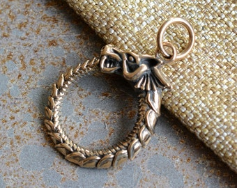 Dragon Pendant, Ouroboros Pendant, Infinity Symbol, Eternity Symbol, Serpent Pendant, Mythology Pendant, Handmade Bronze, One, BS15-051