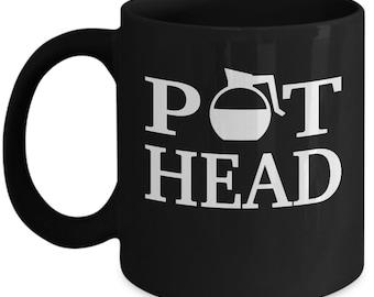 Pot Head Coffee Mug - Funny Gift For A Coffee Lover - Black