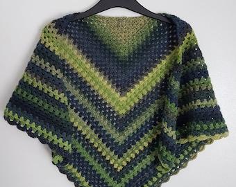 Crochet shawl, granny square shawl, green shawl, crochet wrap, spring wrap, light weight shawl, crochet stole