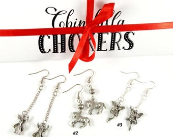 Silver Earrings Fairy Earrings Children Earrings Affordable Earrings French Hooks Earrings Chain Earrings Horse Earrings Cheap Earrings