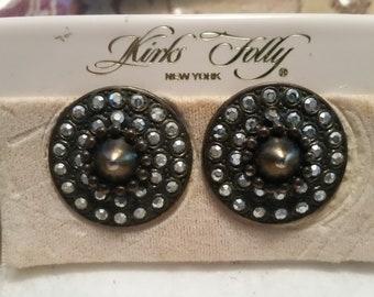 Vintage Kirks Folly Stud and Rhinestone Round Clip on earrings, Never used