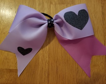 Purple ombre heart bow