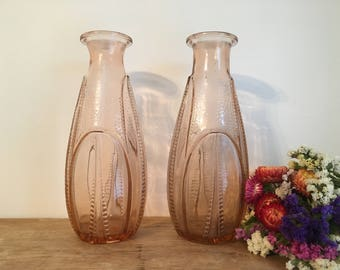French Vintage Pair of 1930s Pink Glass Vases