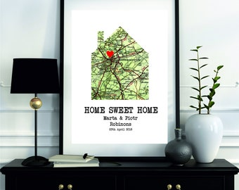 Home Sweet Home Sign, Housewarming Gift, Our First Home, New Home Sign, First Home Gift, Home Decor, Wedding Gift, Framed New Home Sign
