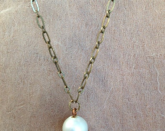 Vintage Pale Green Glass Pearl and Antiqued Brass Necklace