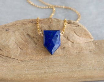 Lapis Lazuli Necklace, Geometric Necklace, Girlfriend Gift, Gemstone Pendant, Blue Necklace, Lapis Lazuli Jewelry, September Birthday Gifts