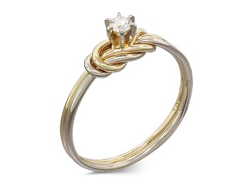14k Gold Diamond Engagement Ring • Rose Gold Ring • Knot Promise Ring • Double Knot Rings • Diamond Jewelry