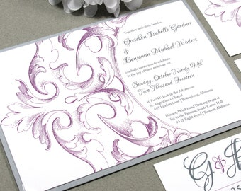Victorian Wedding Invitation Set, Monogram Wedding Invitations, Gray and Purple Wedding Pocket Invitation Suite, Filigree Wedding Invites