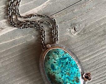 Giant Chrysocolla necklace - oval chrysocolla necklace - boho statement necklace