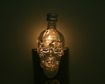 CRYSTAL HEAD VODKA Skull Mini Liquor Bottl Night Light