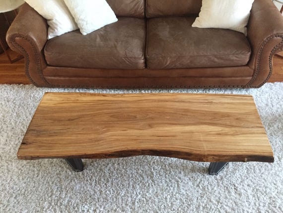 Live Edge Coffee Table Rustic Industrial Midcentury Modern