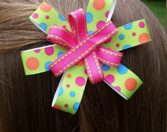Multicolored Flower Hair Bow