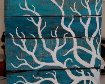 Coral Design on Rustic Wood