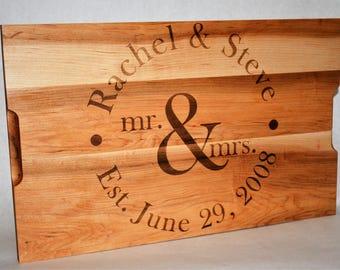 Custom Cutting Board, Custom Engraved - 16x10 - Retirement Gift, Anniversary Gift, Housewarming Gift Wedding Invitation Engraved
