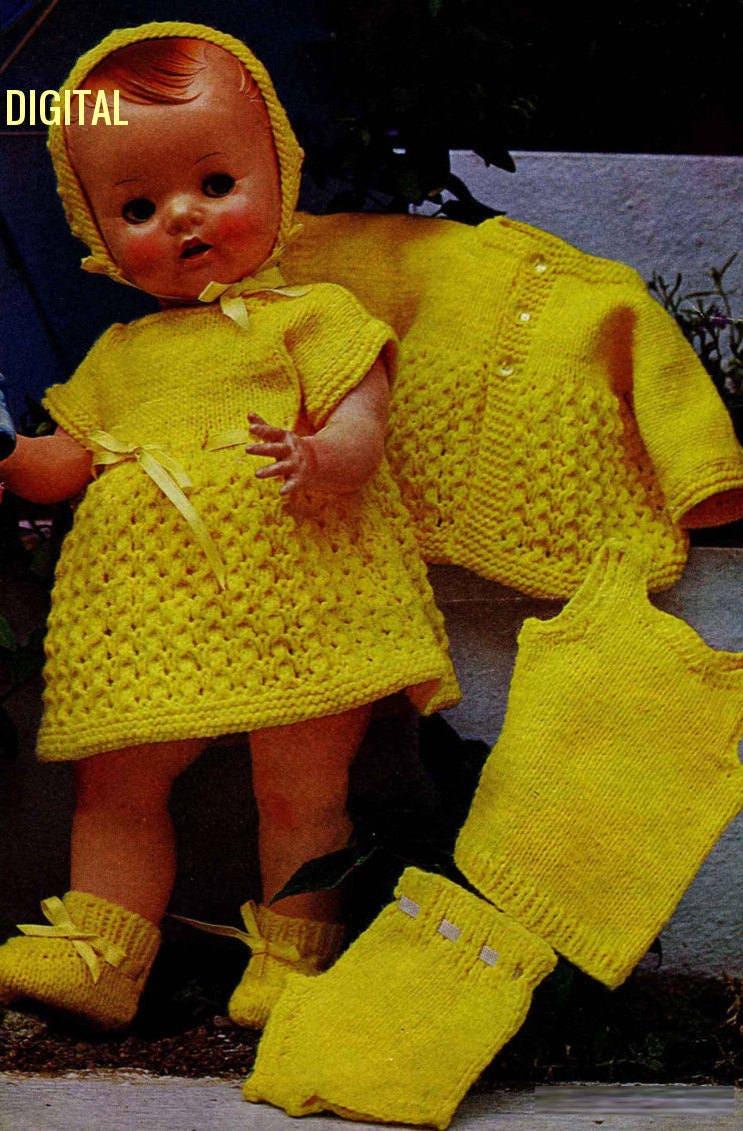 5fb0de2cfae9 Instant PDF Digital Download Vintage Knitting Pattern Dolls Clothes ...