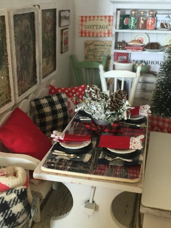 Miniature Dollhouse Christmas Oreo Board  Table Setting 1:12 scale
