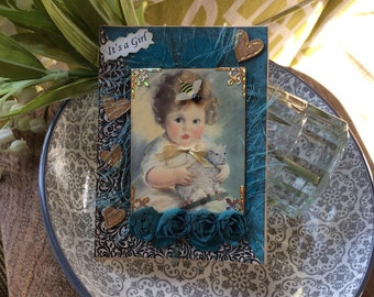 Victorian Girl Card - Old Fashioned Baby Girl Card - avantcarde
