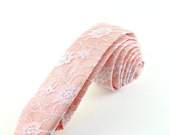 Blush Wedding Tie, Custom Groom's Tie, Romantic Bridal Tie, Blush Pink Lace Necktie, Light Peach Skinny Tie, Summer Wedding Accessory