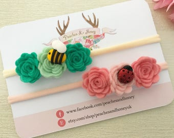 A set of two spring garden flower crowns
