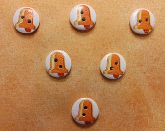 SET of 6 wood buttons: round theme Starfish motif Bell 15mm (18)