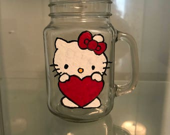 Hello Kitty Hand Painted Glass
