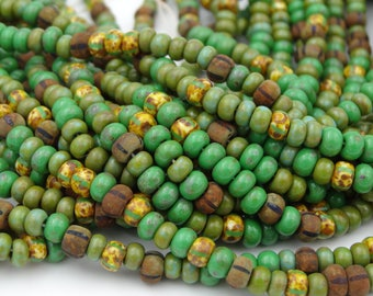 Czech Glass 6/0 Aged GreenBohemian Picasso Mix 3 Strands