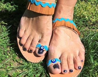 Greek sandals, leather sandals, Handmade, Boho sandals, Evil Eye, Summer sandals, Egst, Barefoot sandals, Hippie sandals, Made in Greece