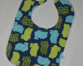 Blue Hippos and Chenille Bib